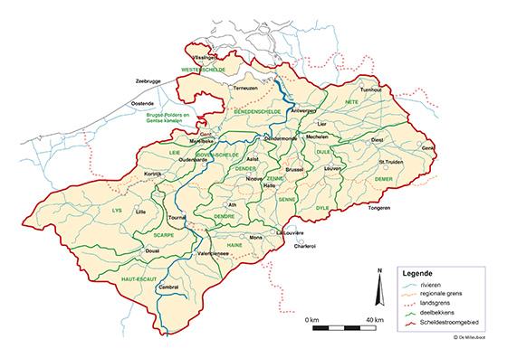 kaart Scheldestroomgebied